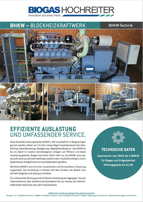 Flyer CHP for biogas operation